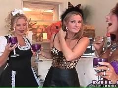Milfs in sexy fancy dresses enjoy their party.