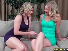 These attractive blond milfs want to get know each other better.