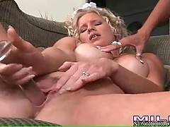 Breasted blondie attacks her wet hole with dildo.