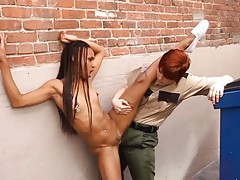 In this scene, you will be watching a beautiful ebony seduce the redhead jail guard. You`ll find these ladies in the back of a building making out and stripping down their clothes. The hot redhead puts on a strap-on cock and fucks the beautiful black woma