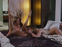 Alexis moans and then cums with surprising speed, a testament to Kristin`s cunnilingus ability. Not to be outdone, Alexis provides Kristin with an equally impressive orgasm. They continue to eat each other out craving multiple orgasms from deft fingers an